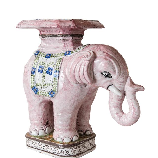 Garden Stool Glazed Italian Terra Cota Elephant On