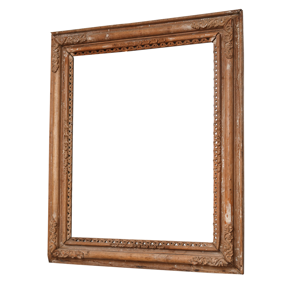 Spanish Colonial Antique Frame With Mirror On Antique
