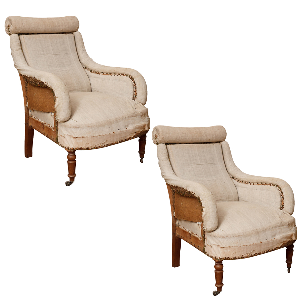 Pair Of Napoleon 3rd French Arm Chairs On Antique Row