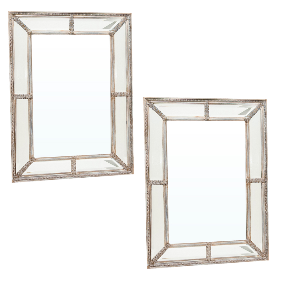 Pair of Vintage Silver Finish Beveled Mirror : On Antique ...