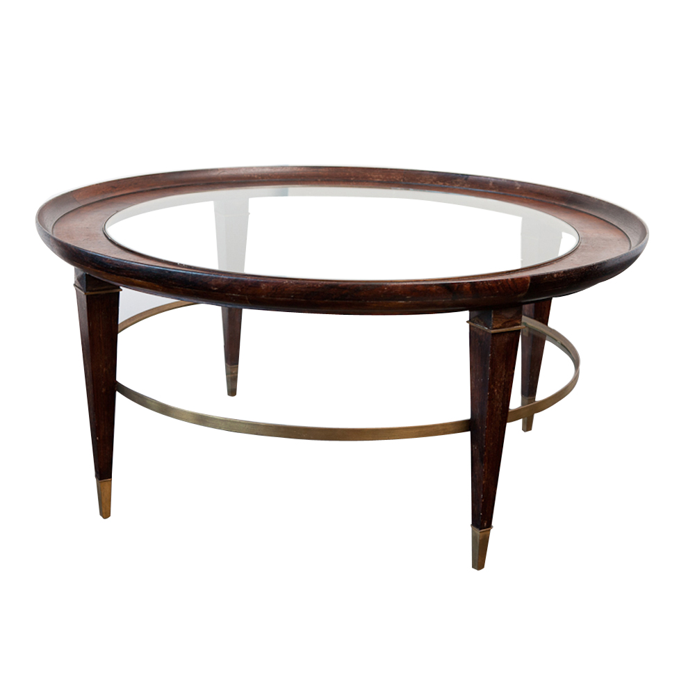 Vintage coffee table in wood glass and brass on antique for Vintage coffee table