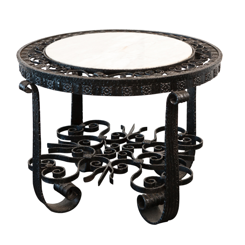 1920s wrought iron table with marble top on antique row for Wrought iron table bases marble top