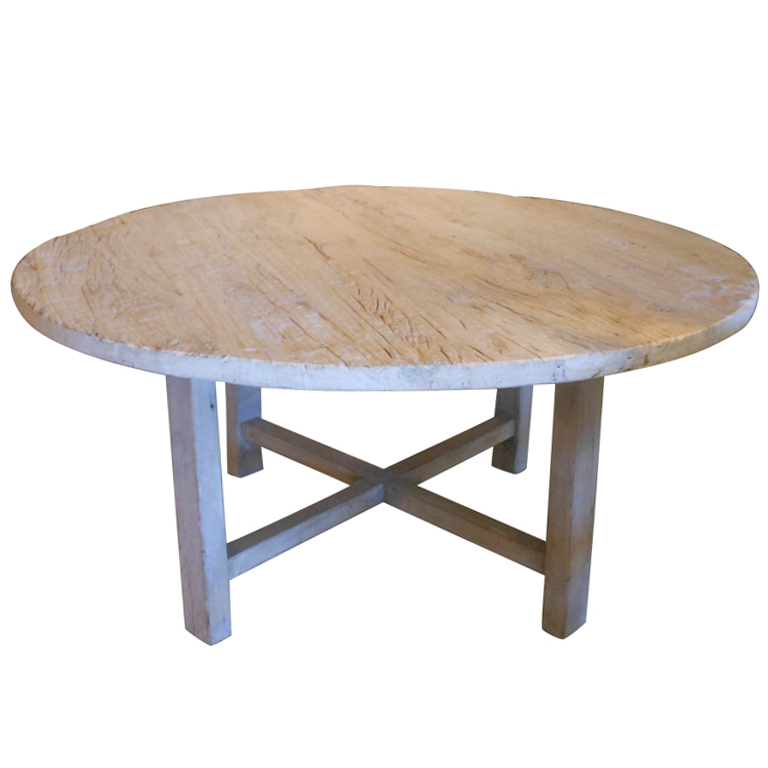 Antique organic round dining table in poplar on antique for Table 52 west palm beach