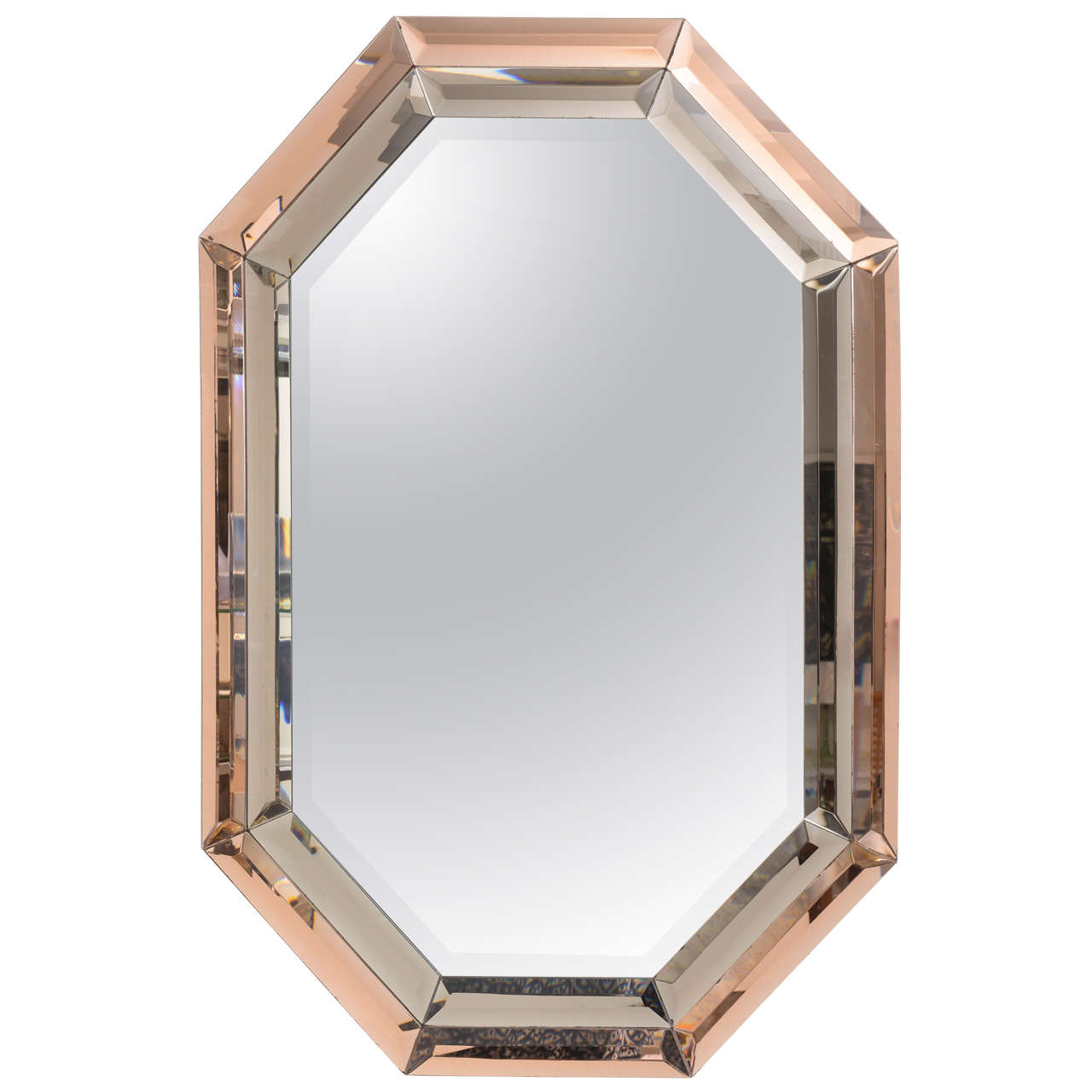 Beveled tri color octagonal mirror on antique row west for Octagon beveled mirror