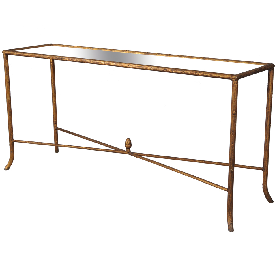 Gilded faux bois console table with mirrored glass top - Table console bois ...