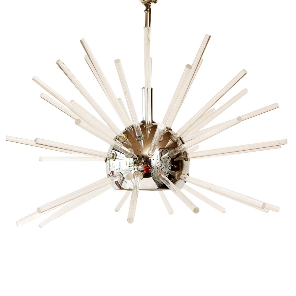 Pair of vintage sputnik chandelier in steel and lucite for Sputnik chandelier