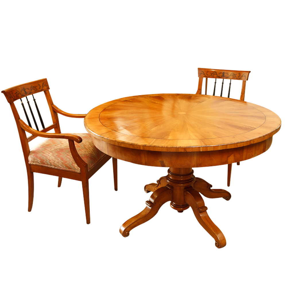 Biedermeier Table And Four Chairs