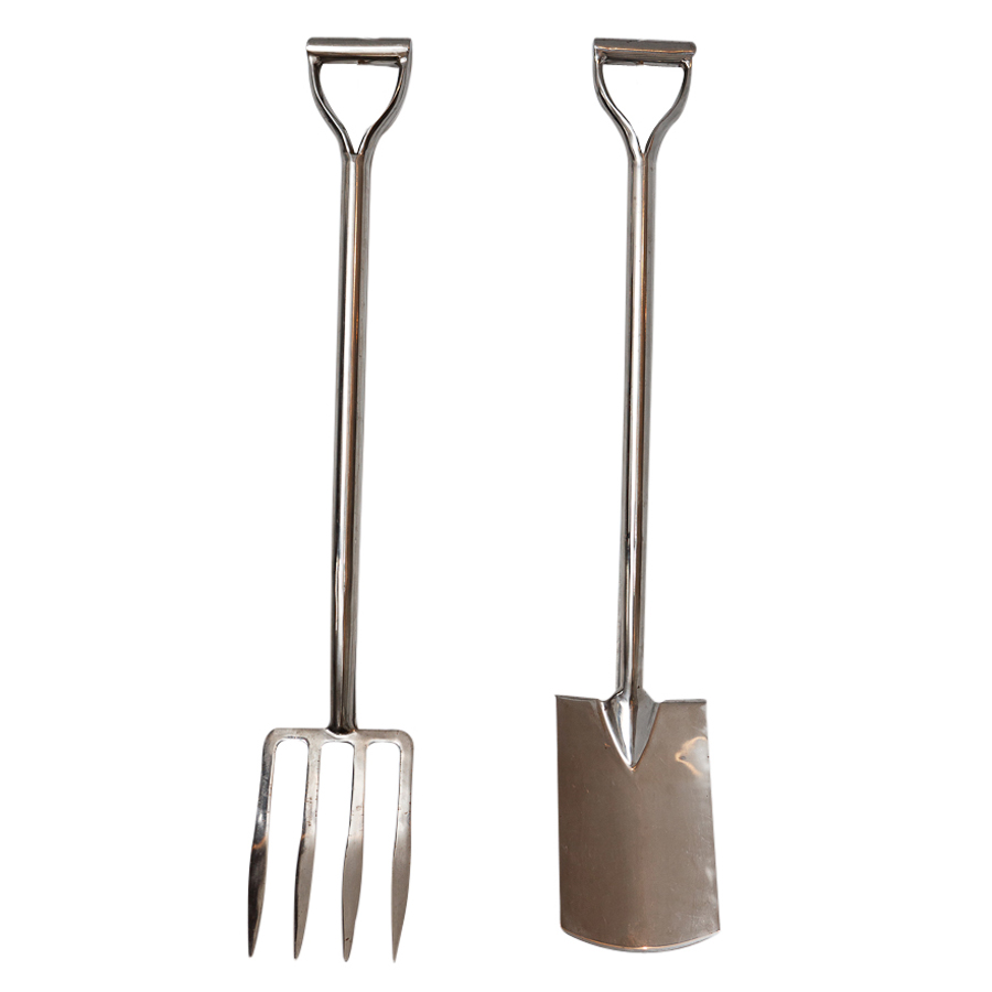 Chrome Plated Pitchfork And Shovel On Antique Row West