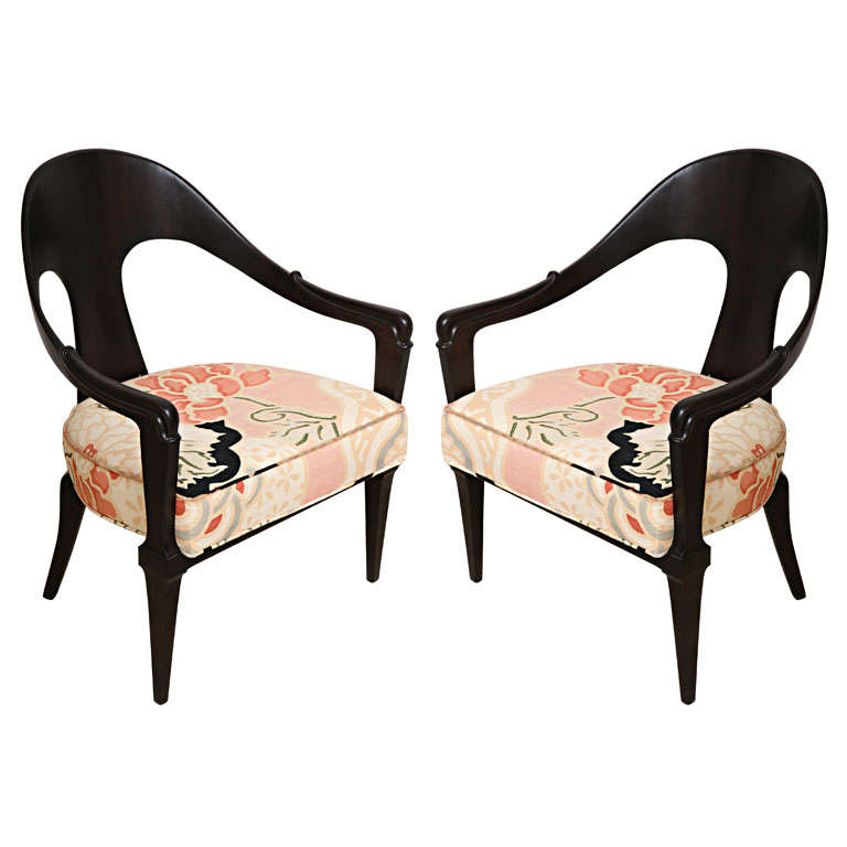 Pair Of Hollywood Regency Style Ebonized Wood Spoon Back Chairs