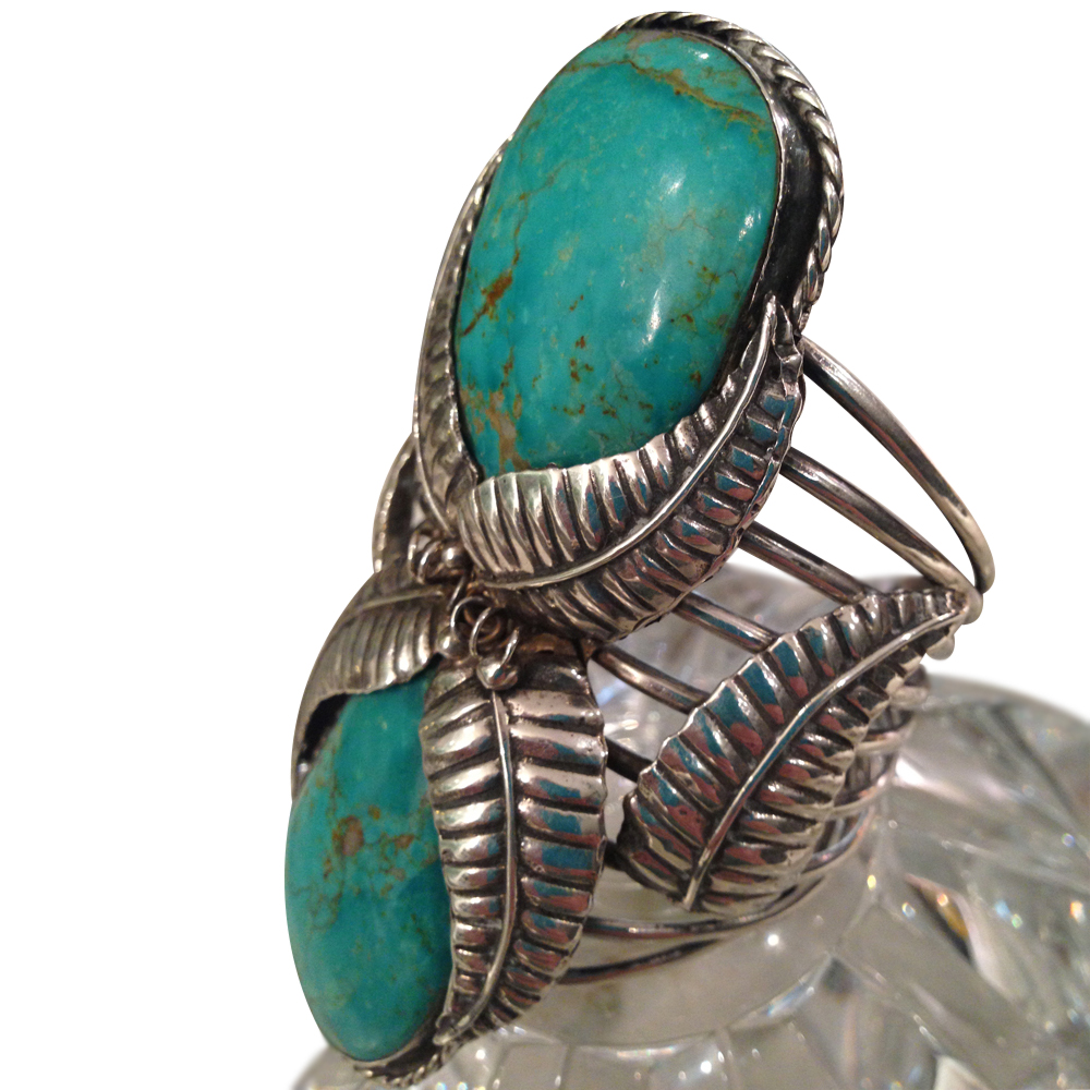 Navajo Sterling Silver Turquoise Cuff On Antique Row