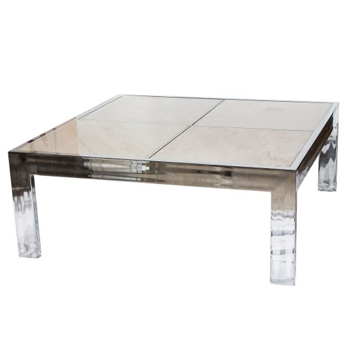 Marble And Chrome Coffee Table: Chrome Cocktail Table With Marble Top Inserts : On Antique