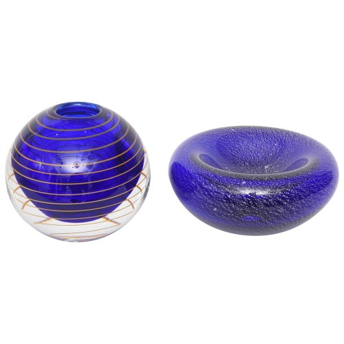 Czech Blue Amp Gold Glass Vase And Murano Glass Bowl In Blue