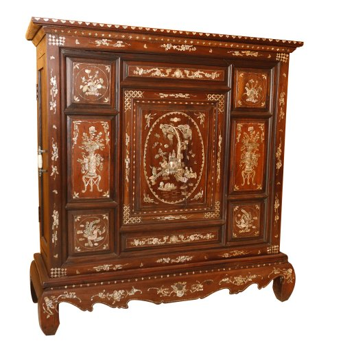 Unique Mother Of Pearl Cabinet: 19th Century Mother Of Pearl Cabinet : On Antique Row