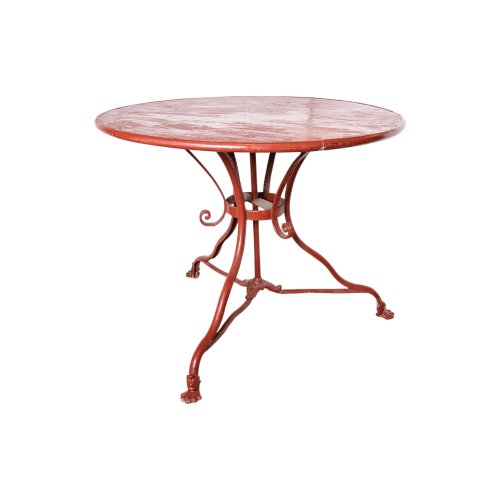 Vintage french round red iron garden table on antique for Table 52 west palm beach