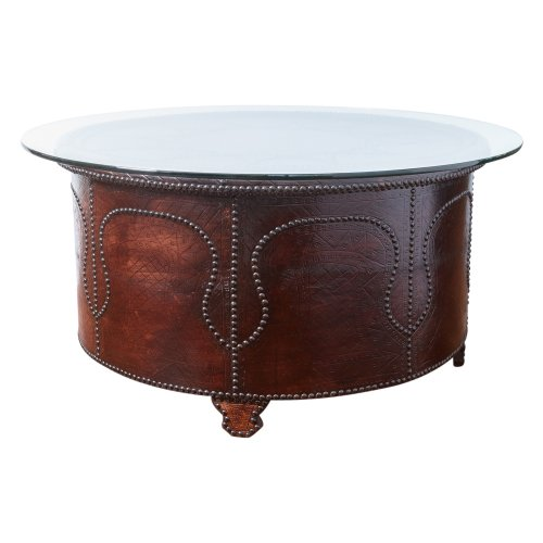 Antique Round Leather Top Coffee Table: Table : On Antique Row