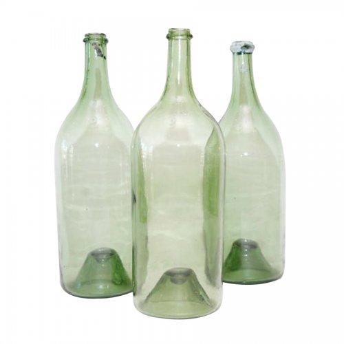 Set of 3 vintage french green glass wine bottles on for Green glass wine bottles