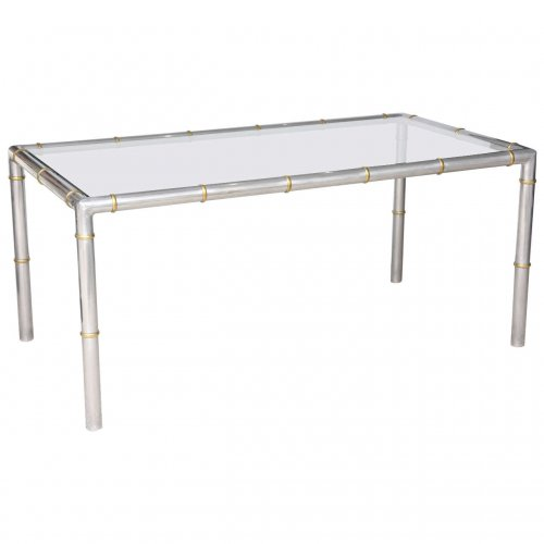 hollywood regency faux bamboo dining table in aluminum and brass 1970s on antique row west. Black Bedroom Furniture Sets. Home Design Ideas