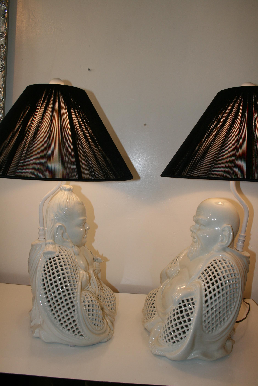 Blanc de chine buddah lamps pair on antique row west for Asian antiques west palm beach