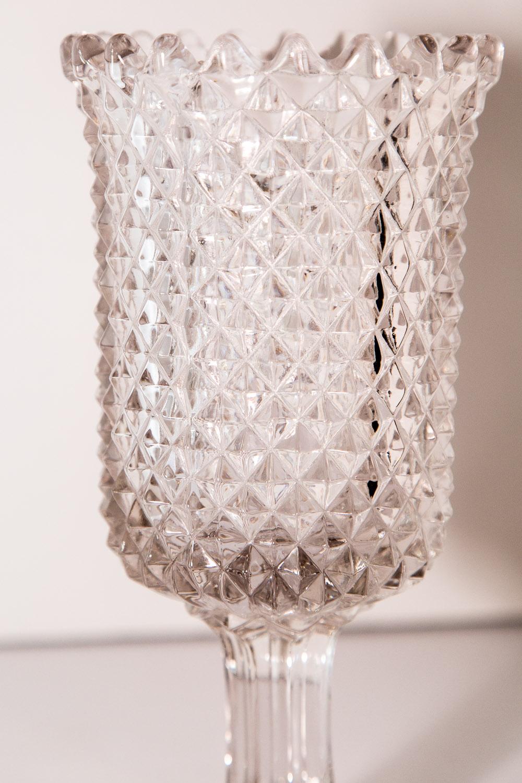 Vintage English Diamond Pattern Stemmed Celery Vase On