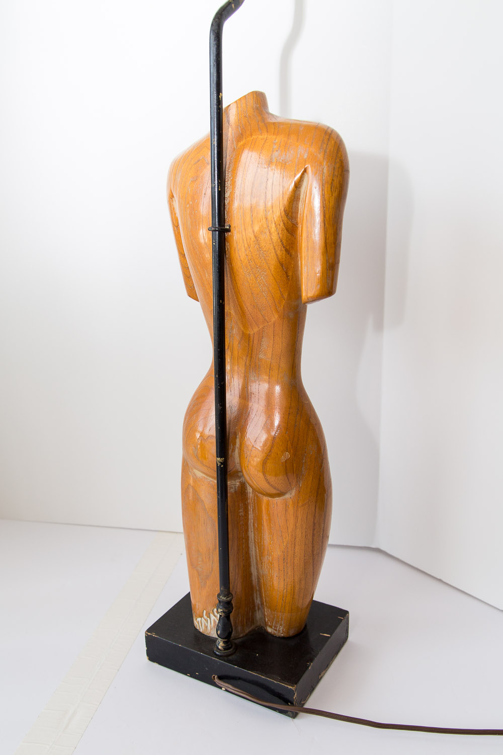 Mid Century Carved Blond Wood Female Torso Lamp Signed