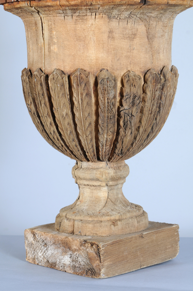 Large 18c Carved Urn With Iron Greek Key On Antique Row
