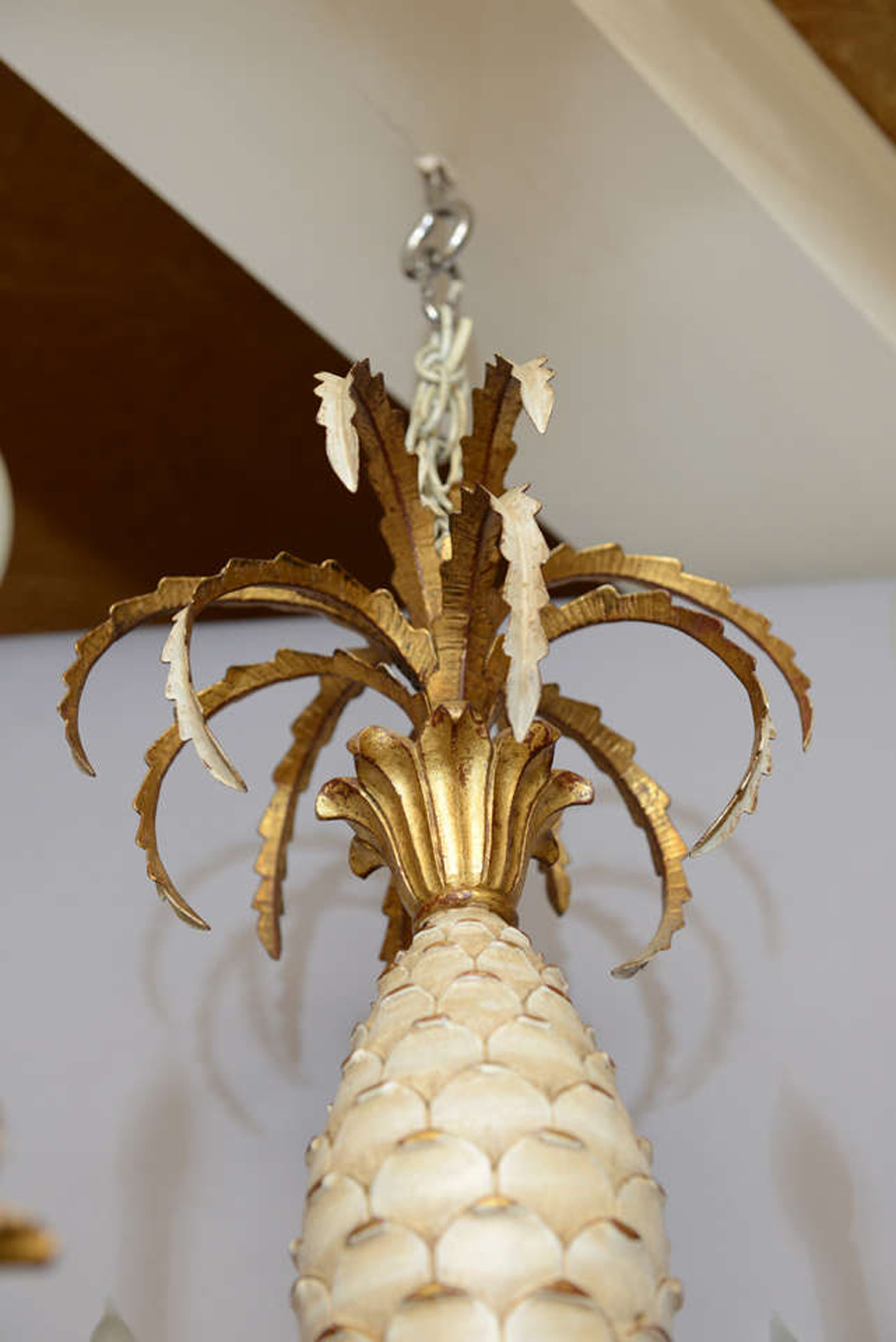 Italian Carved Pineapple Six Light Chandelier On Antique