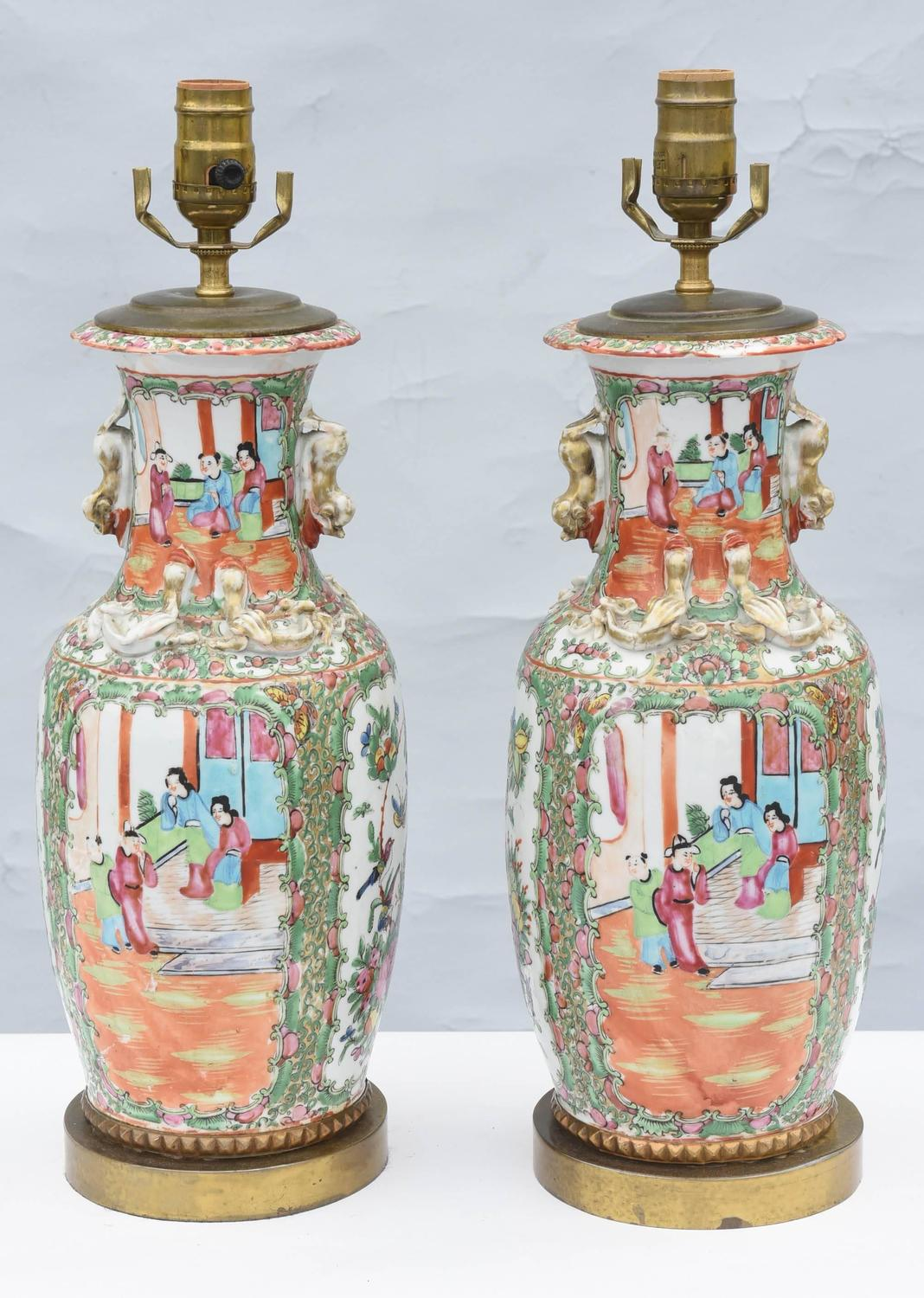 Pair of 19th century chinese export rose mandarin vase for Asian antiques west palm beach