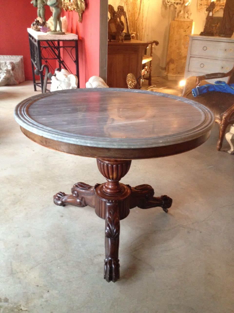 19th century french center table with marble top
