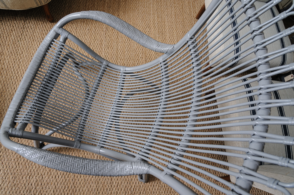 Lacquered Vintage Reed And Rattan Lounge Chair On