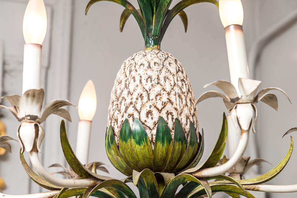 Italian Painted Metal Vintage Pineapple Chandelier On