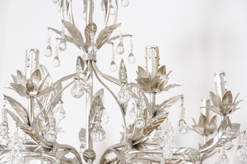 Lovely Silver Leaf And Crystal Chandelier On Antique Row