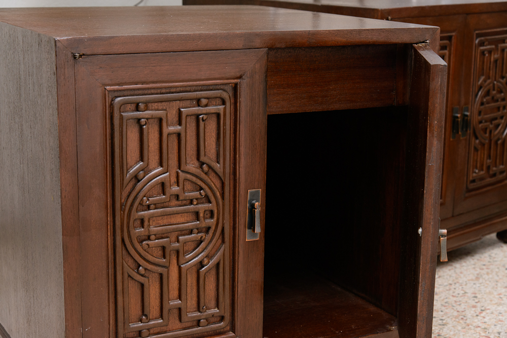 Asain inspired wood cabinets endtables on antique row for Asian antiques west palm beach