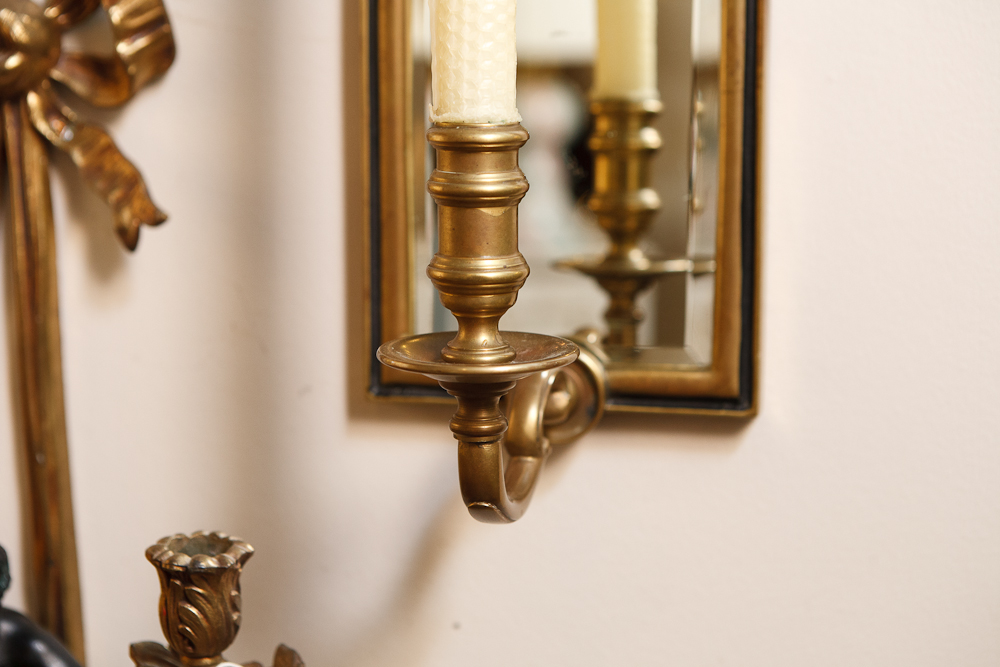 Pair Of Vintage Chapman Mirrored Sconces On Antique Row