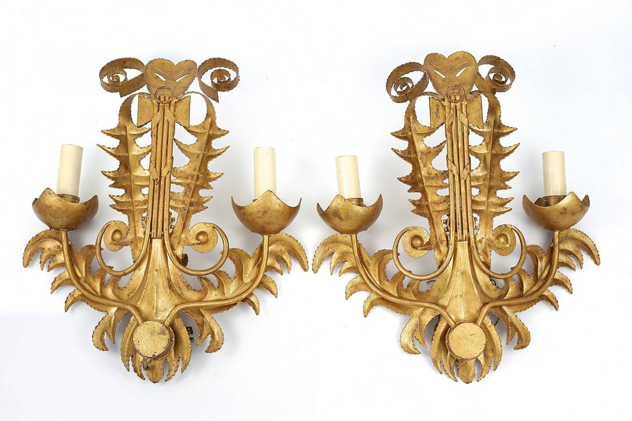 Pair of Art Deco-Style Two Light Wall Sconces in Gold Metal Finish : On Antique Row - West Palm ...