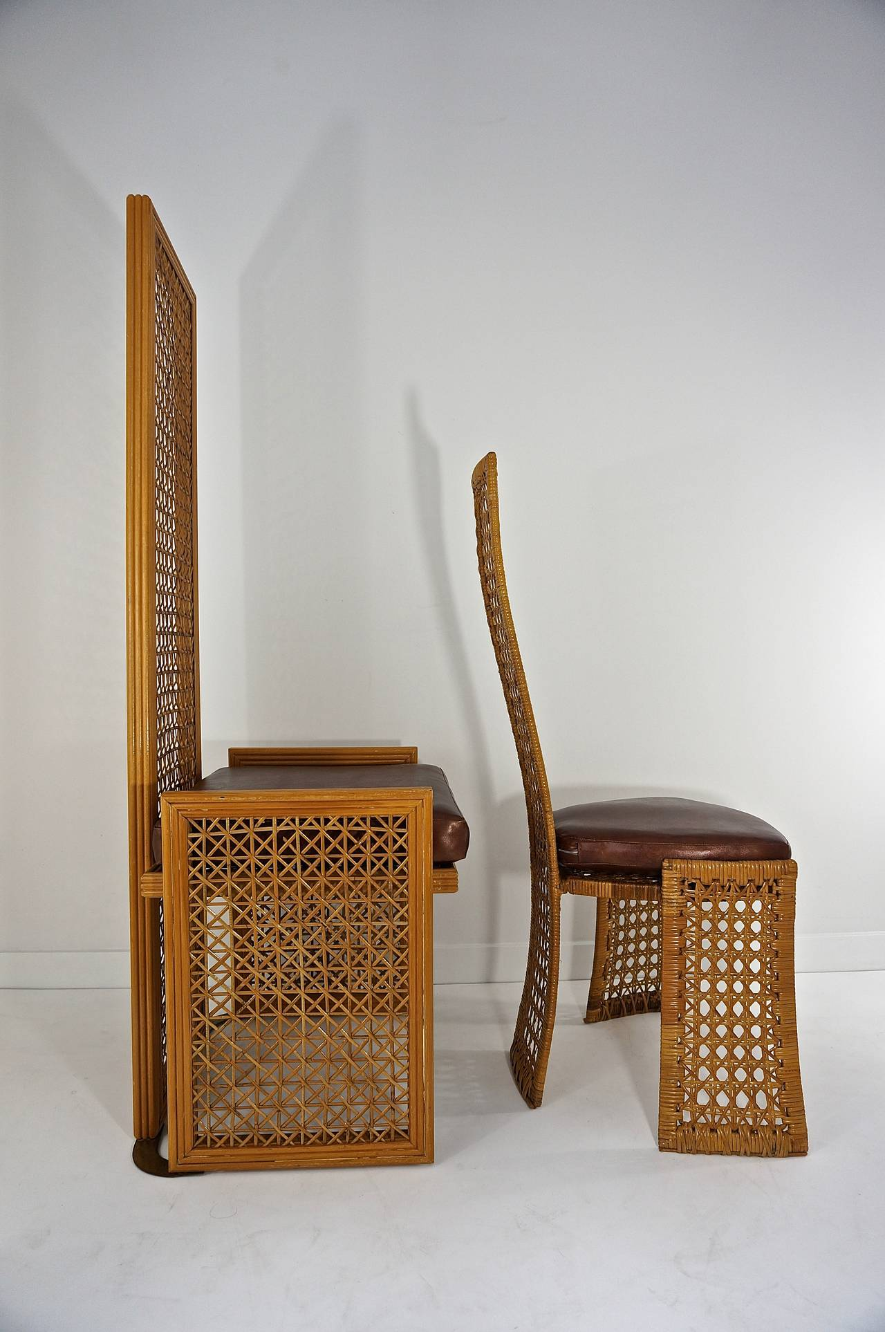 Set Of 8 Dining Chairs With French Caning Vivai Del Sud