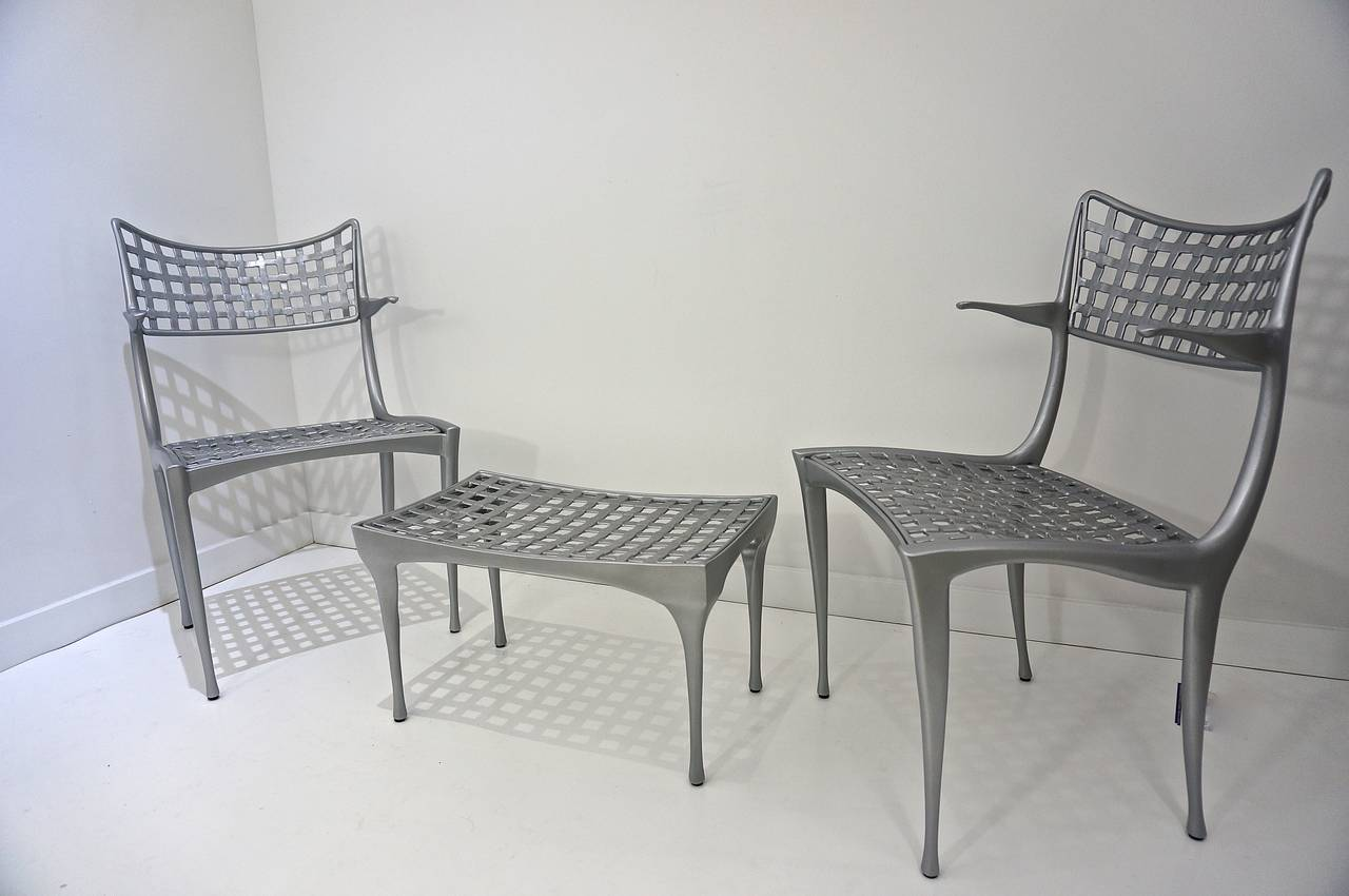 pair of mid century patio armchairs and ottoman sol y luna by dan johnson on antique row. Black Bedroom Furniture Sets. Home Design Ideas
