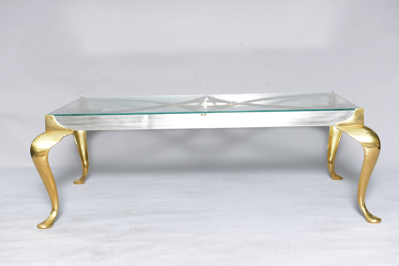 Polished Steel And Brass Coffee Table On Cabriole Legs On Antique Row West Palm Beach Florida