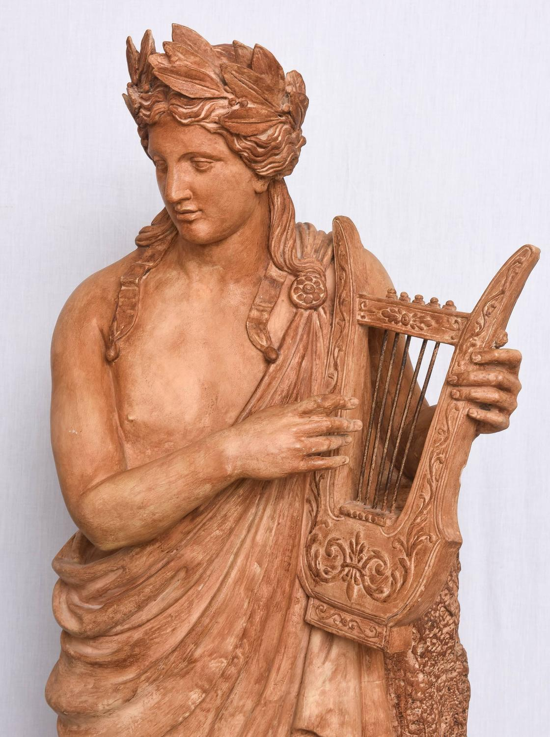 Terra Cotta Garden Statue of Greek God Apollo Playing a ...