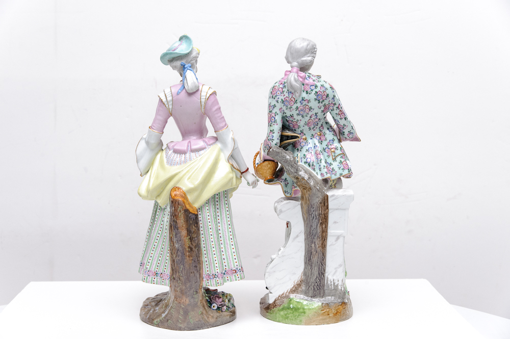 Pair Of Meissen Figurines On Antique Row West Palm
