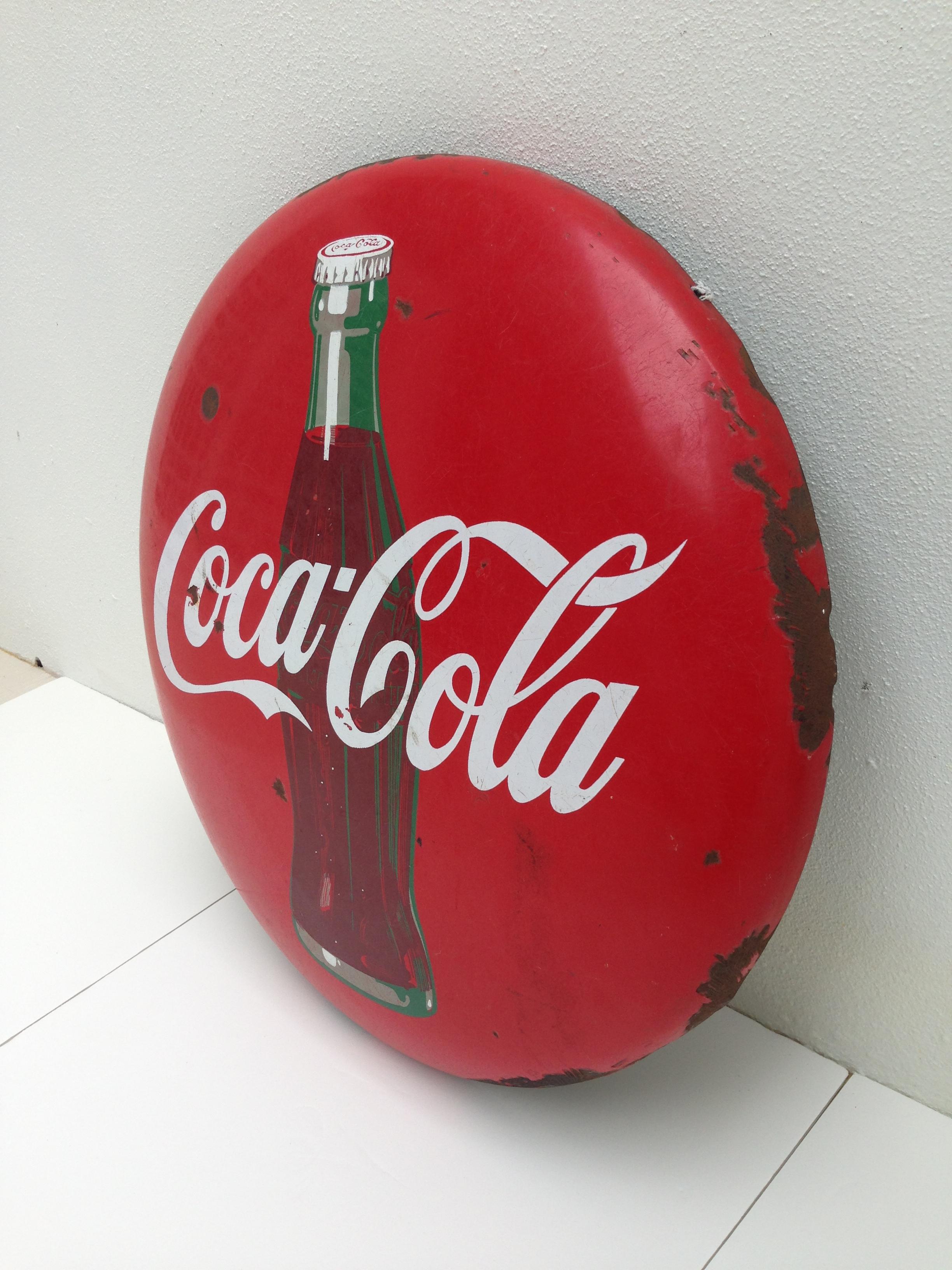 Vintage Porcelain And Metal Coca Cola Sign On Antique