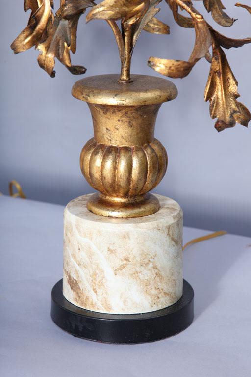 Pair Of Italian Mid Century Gilded Urn Lamps On Antique
