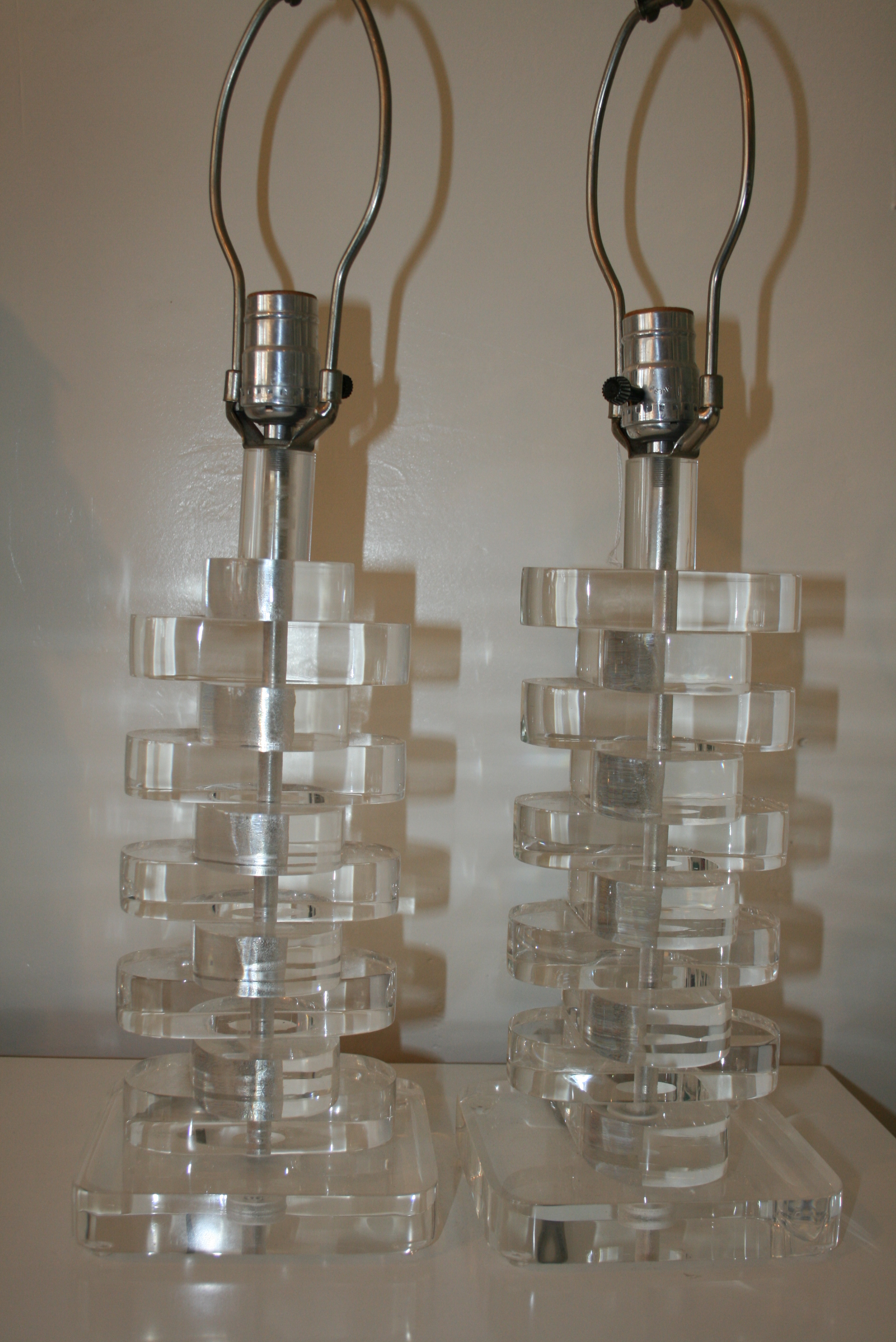 Karl Springer Style Stacked Lucite Lamps On Antique Row