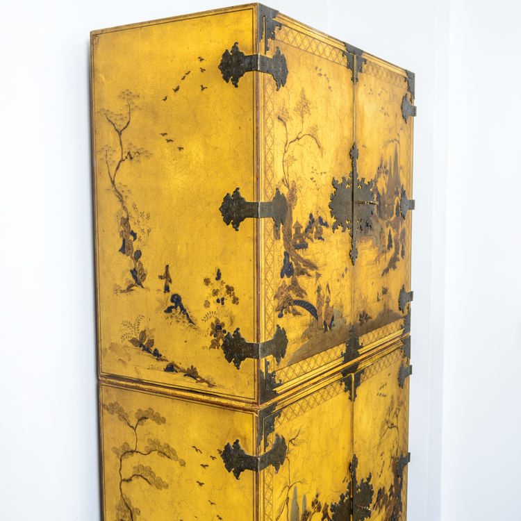 Pair of yellow chinese lacquer stackable chests on stand for Asian antiques west palm beach