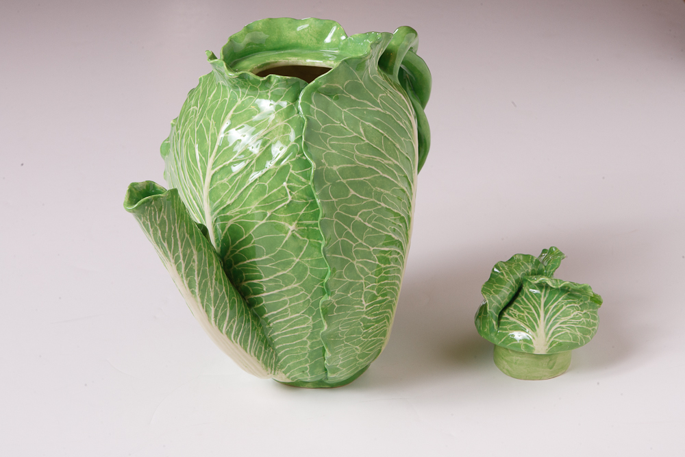 Glazed Majolica Cabbage Pitcher On Antique Row West