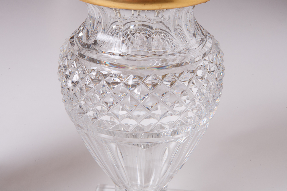 Pair Of Saint Louis Crystal Vase Lamps On Antique Row