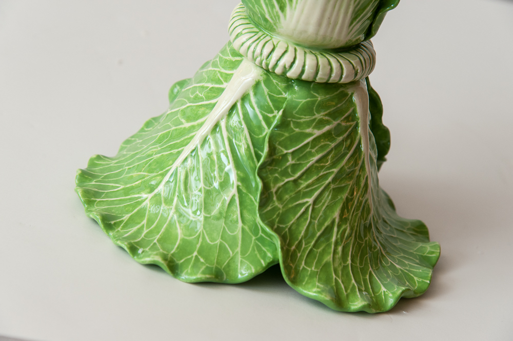 Signed Dodie Thayer Quot Lettuce Ware Quot Pair Of Candle