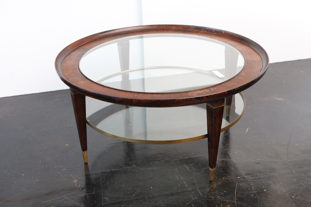 Vintage coffee table in wood glass and brass on antique for Table 52 west palm beach