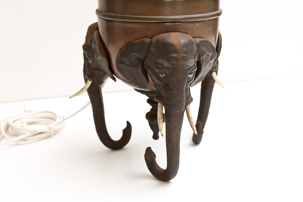 Vintage Brass And Cast Iron Elephant Lamp On Antique Row