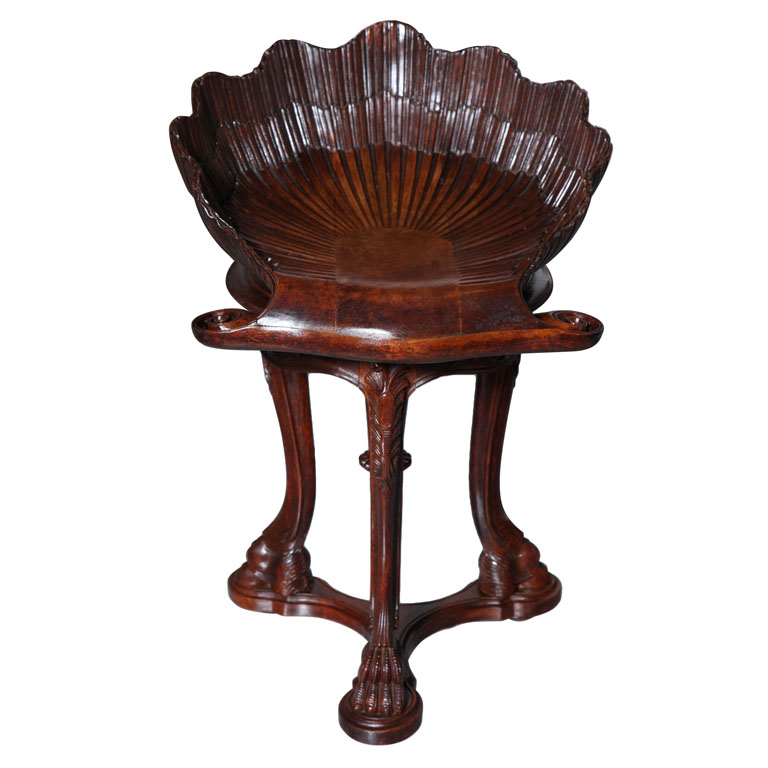 Italian Antique Carved Shell Piano Stool On Antique Row West Palm Beach Florida