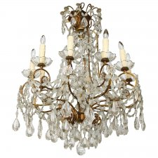 unusual tenlight gilded iron italian chandelier early 20th cent